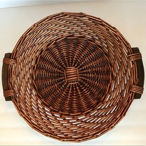 Other - Wooden Handles Brown Wicker Basket